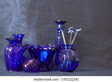 Collection of Blue Glass Vases