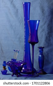 Collection of Blue Glass Vases and Lamp