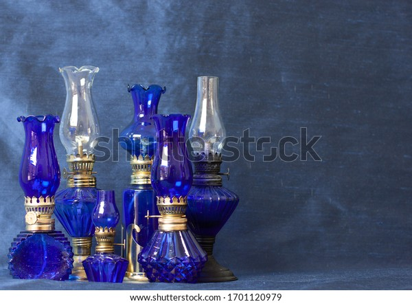 Collection of Blue Glass Vintage Lamps