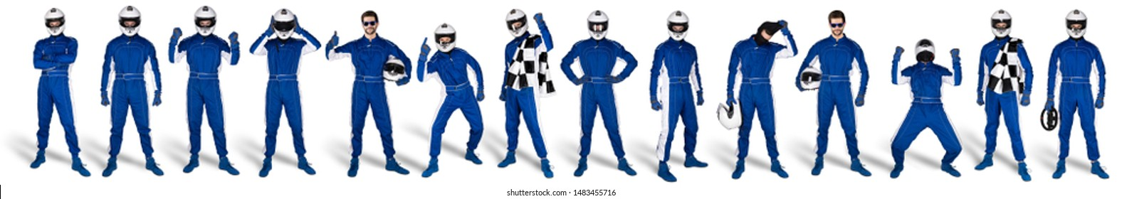Collection of blue overall race driver set with saftey crash helmet and chequered checkered flag isolated on white background. motorsport car racing sport concept