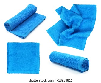 Collection of blue towels on isolated white background