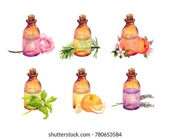 Collection of bottles with essential oils: essential oil of rose, apricot, tangerine, mint, lavender. Cosmetic, perfumery and medical oils. Watercolor set