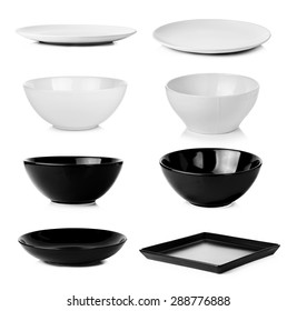 Collection of bowl plate dish isolated on a white background.