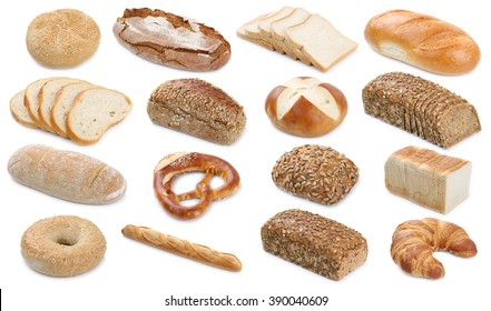 Collection of bread breads bagel roll toast pretzel isolated on a white background bakery