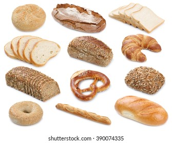 Collection of bread breads bagel roll toast baguette pretzel isolated on a white background bakery