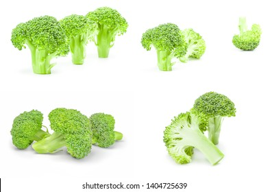 Collection of broccoli cabbage isolated on white