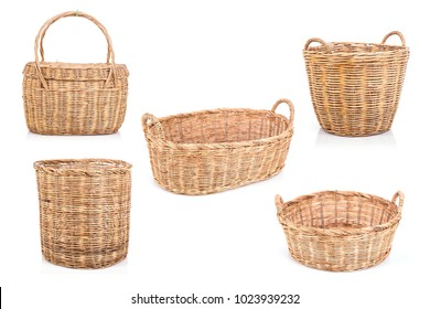 Collection of brown handmade rattan basket isolated on white background