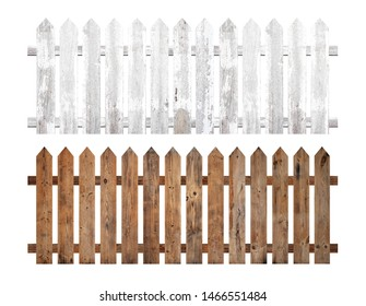A collection of brown and white wooden fence isolated on a white background that separates the objects. There are Clipping Paths for the designs and decoration