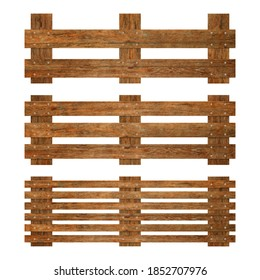 Collection of brown wooden fence isolated on white background with parallel plank old. Object with clipping path