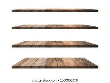 A collection of brown wooden shelves on a white background that separates the objects. There are Clipping Paths for the designs and decoration