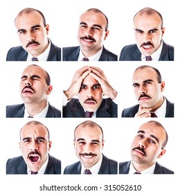 a collection of a businessman's different facial expressions isolated over a white background