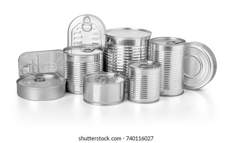 collection of cans isolated on a white background with clipping path