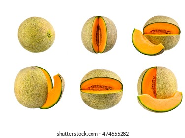 Collection of Cantaloupe, rock melon on white background