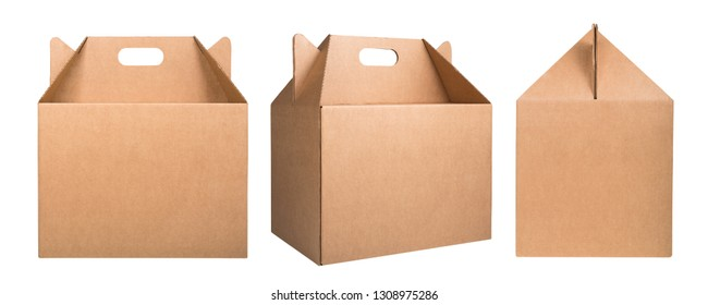 Collection of cardboard boxes isolated on white background. Set of brown cardboard boxes. Delivery concept