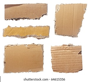 collection of  a cardboard pieces  on white background. each one is shot separately