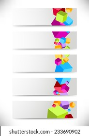 Collection of cards with colorful cubes