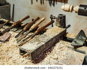 Collection of carpenery tools. Carpentry room.