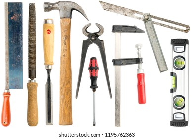 collection of carpenter tools, isolated on white