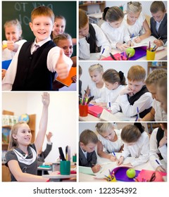 Collection of cheerful children writing at lesson in classroom