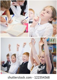 Collection of cheerful schoolchildren in classroom