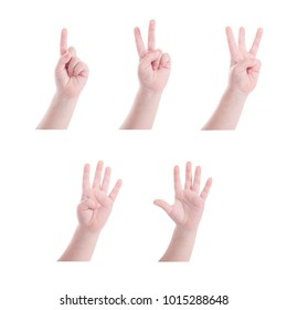 Collection of child hand counting number one to five over white background