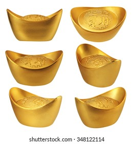 Collection of Chinese gold ingots with different angles isolated on white background