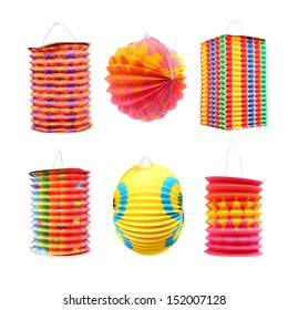 Collection of Chinese lantern on white background. Traditional handmade work from rice paper.