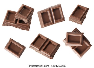 Collection of chocolate pieces, isolated on white background