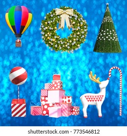 Collection of christmas decoration isolated on blue bokeh background with clipping path
