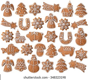 Collection of Christmas gingerbread cookies isolated on white background