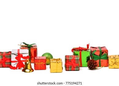 Collection of Christmas or new year gift boxes on a white background