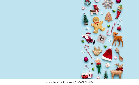 Collection of Christmas objects viewed from above - Shutterstock ID 1846378585