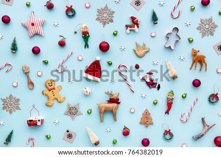 Collection of Christmas objects viewed from above