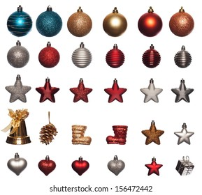 collection of christmas ornaments in various sizes and shapes isolated on white background