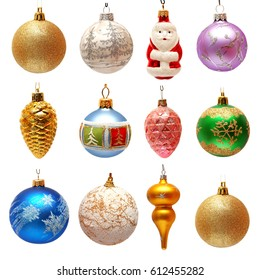 Collection of Christmas toys for the Christmas tree isolated on white background. New Year's ball, Santa Claus, pine cone. Flat lay, top view