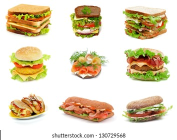 Collection with Ciabatta, Turkey Meat, Salmon, Ham and Sausage Sandwiches, Double Cheeseburger, Hot Dogs,  Bacon Burger and Salchichone Sandwich isolated on white background