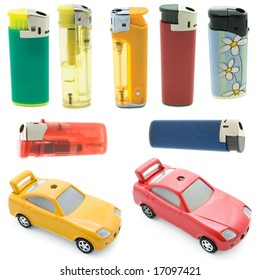 collection cigarette lighters isolated against a white background