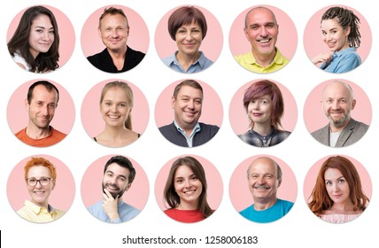 Collection of circle avatar of people. Young and senior men and women faces on pink color. Positive human emotion. Concept of divercity and individuality in modern community.