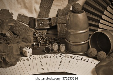 Collection of classic Magic tricks with a sepia edition applied. Vintage and retro theme