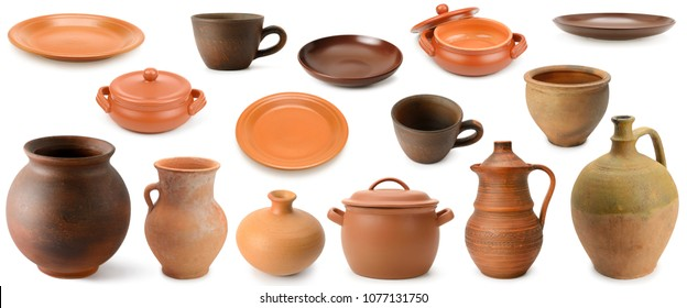 Collection clay and pottery utensils isolated on white background