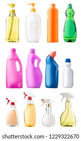 Collection of cleaning bottle product with different display isolated over white background