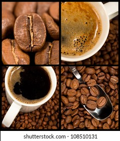 Collection of coffee and coffee beans. Four different close up images.