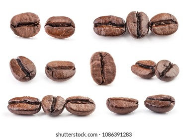 Collection of Coffee beans isolated on white background, closeup