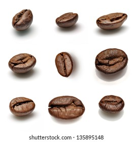 Collection of coffee beans isolated over white background