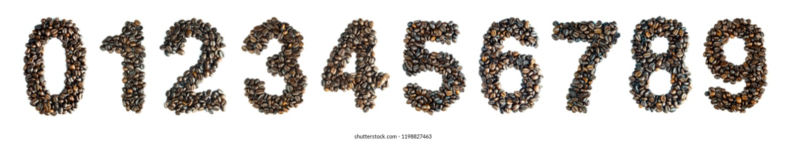 collection coffee beans are numbered 0 1 2 3 4 5 6 7 8 9 Zero one two three four five six seven eight nine. digits from count isolated on white background and clipping path.