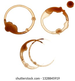 Collection of Coffee stains on white background.