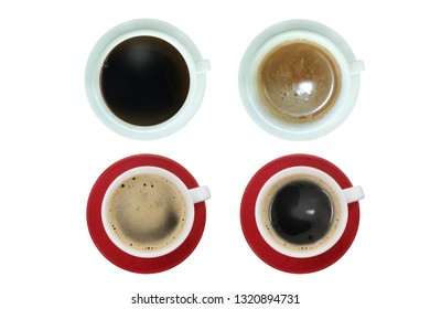 collection coffee top view isolated , isolated on white background with clipping path.