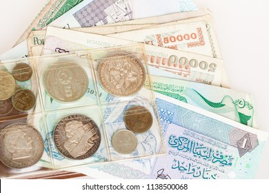 Collection of coins and paper money from different countries. Numismatic album. Numismatics as a hobby