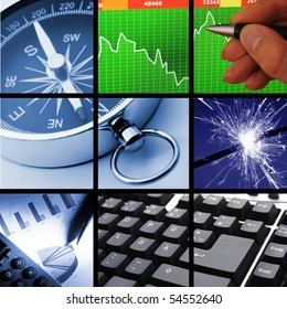 collection or collage of finance or business images