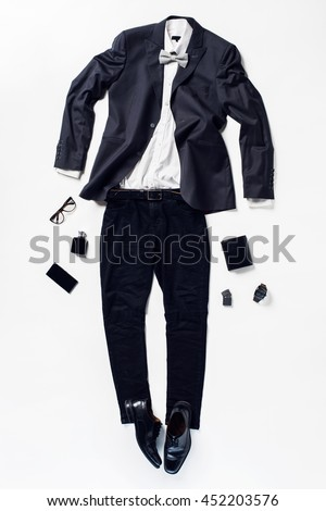 fc781de6ff8 collection collage of men s clothing and accessories. Overhead of essentials  young elegant man. Outfit